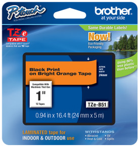 TZeB51 Black on Florescent Orange Ptouch Tape