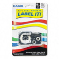 Casio XR118BKS 3/4 In. Black on White Iron-On Transfer Tape, 1/Pack