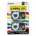 Casio XR18WE2S 3/4 In. Black on White Tape Cassettes, 2/Pack