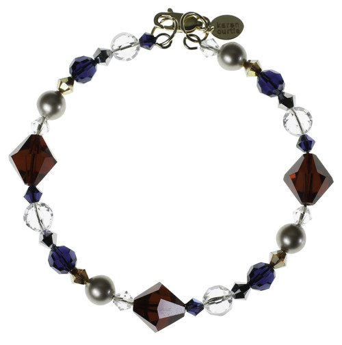 Royal red crystal bracelet with navy blue and silver shades bead.