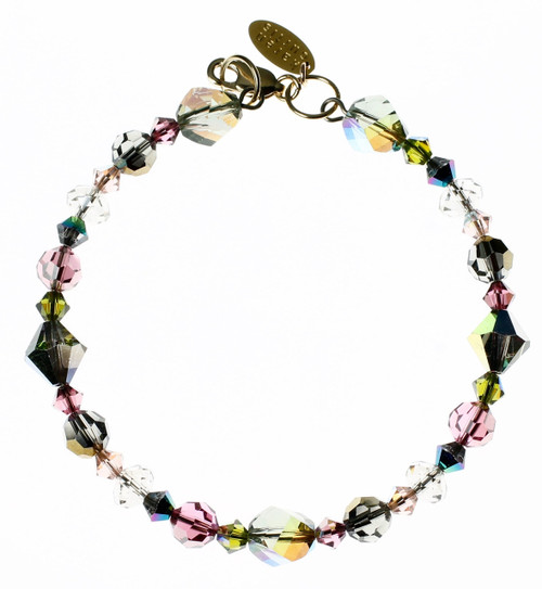 Crystal bracelet made with soft rose, grey and iridescent colored beads.