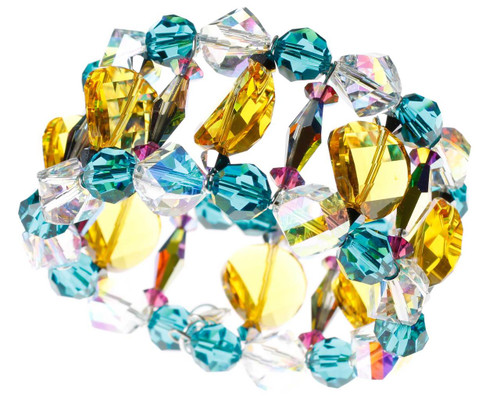 Swarovski crystal yellow and teal bracelet