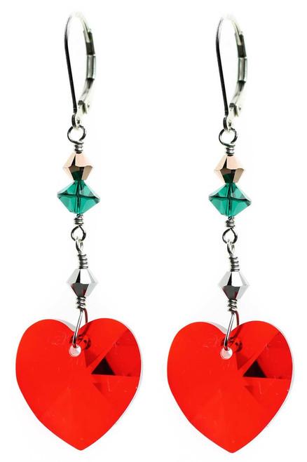Heart Christmas Earrings - Holiday