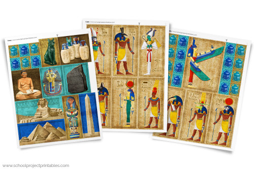 Three pages of colorful ancient Egyptian gods and icons clip art! Use like stickers to decorate projects and posters.