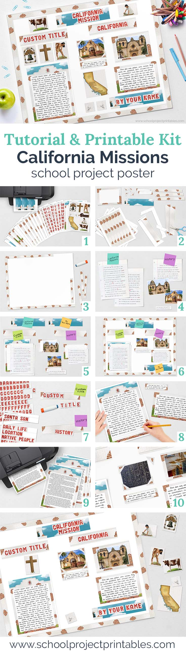 Step by step tutorial to make California Missions project using printable kit