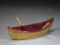 Red & Gold Canoe Dip Pot