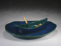 Blue & Green Canoe on a Lake Gift Set