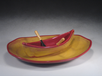 Red & Gold Canoe on a Lake Gift Set