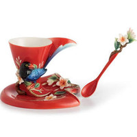 Joyful Magpie Cup/Saucer/Spoon