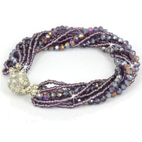 Purple multi-strand crystal bracelet with magnetic clasp