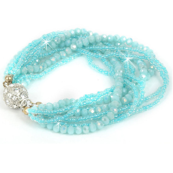 Light Blue multi-strand crystal bracelet with magnetic clasp