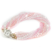 Multi-Strand Pink and White Crystal Bracelet with Magnetic Clasp