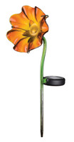 Mini Solar Poppy Stake - Orange