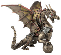 Steampunk Dragon Sitting and Holding a Sphere