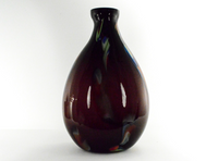 Purple Vase with Multi-colored Swirls
