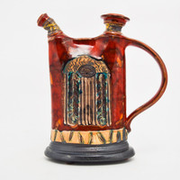 Short and Wide Red Green Decanter
