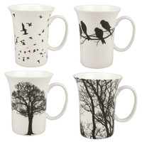mcintosh bone china eternal silhouette set of 4 mugs