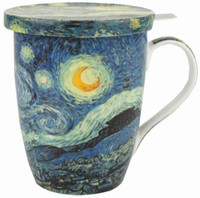 Van Gogh Starry Night Tea Mug with Infuser & Lid