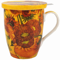 Van Gogh Sunflowers Tea Mug with Infuser & Lid