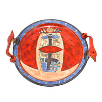 Red Cream Blue Platter with Handles