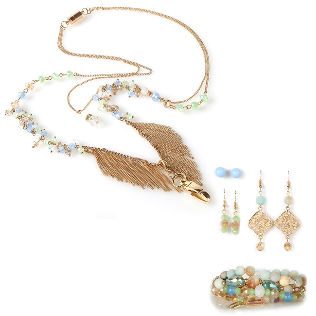 Fringe Fashion Lanyard with Earrings & Bracelets, 8 pc set