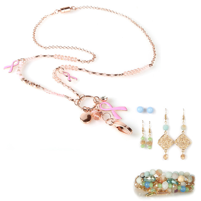Charming Pink Fashion Lanyard with Earrings & Bracelets, 8 pc set