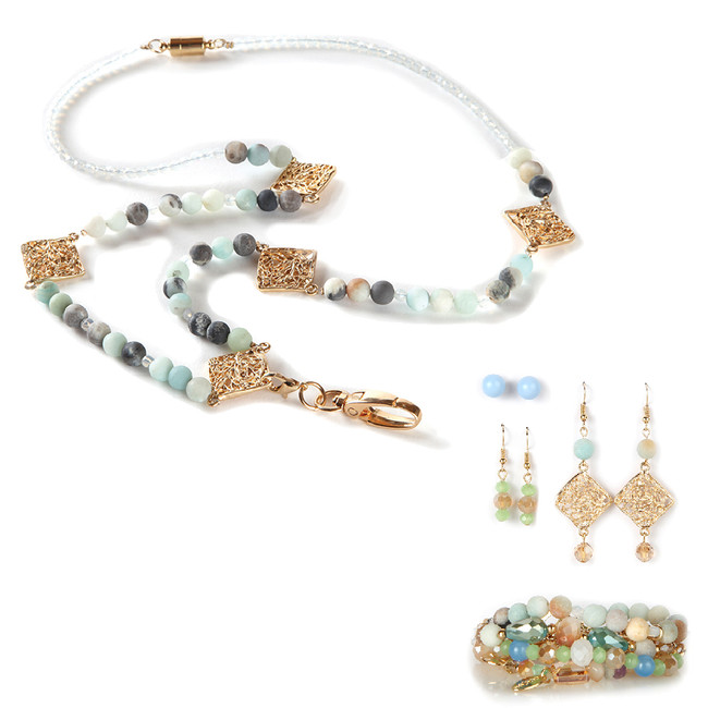 Celadon Fashion Lanyard with Earrings & Bracelets, 8 pc set