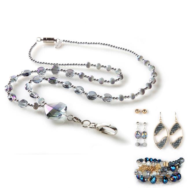 Aurora Fashion Lanyard with Earrings & Bracelets, 8 pc set