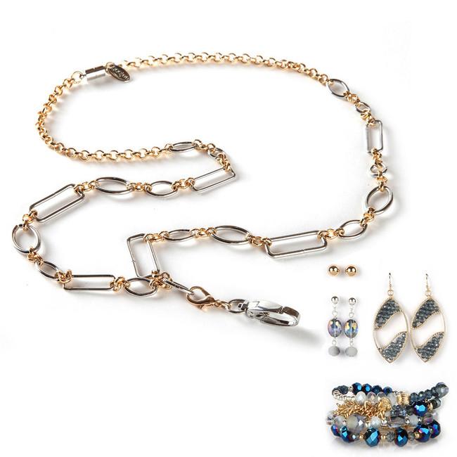 Anna Fashion Lanyard with Earrings & Bracelets, 8 pc set