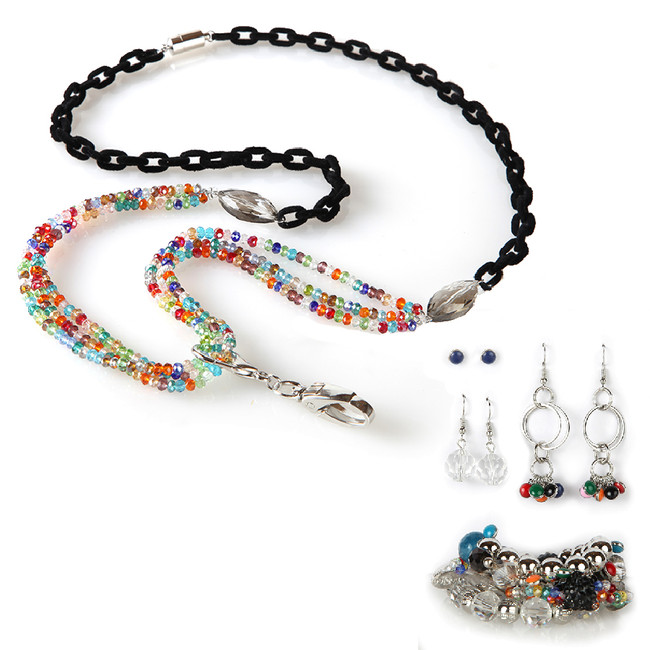 Lavinia Fashion Lanyard with Earrings & Bracelets, 8 pc set