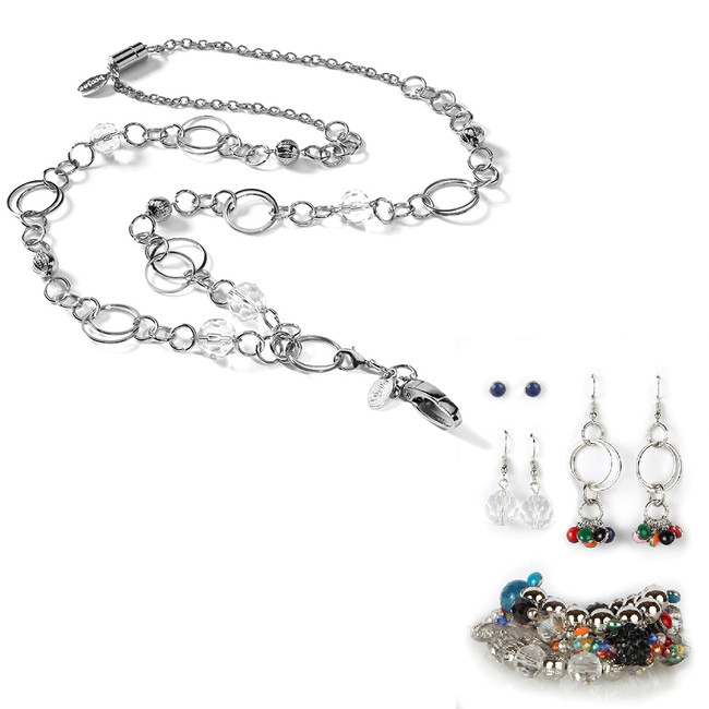 London Fashion Lanyard with Earrings & Bracelets, 8 pc set