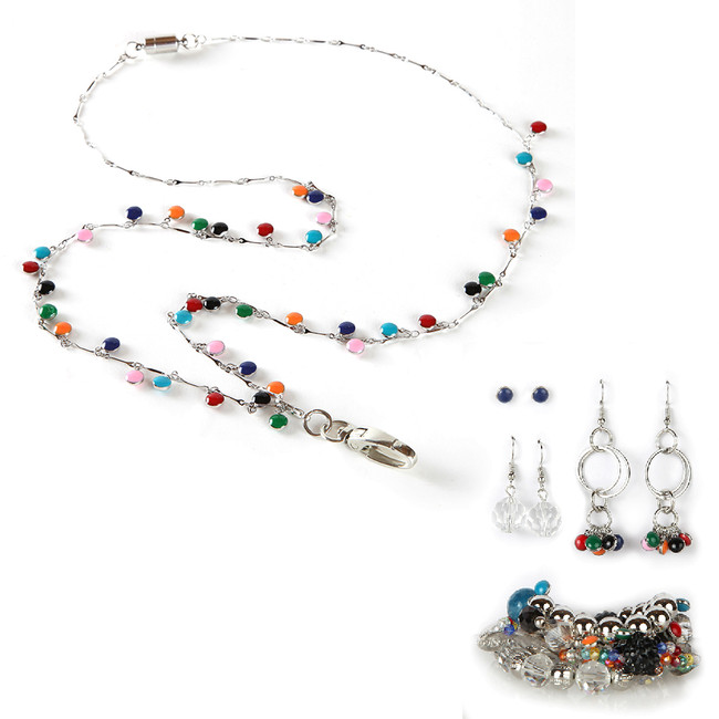 Calypso Fashion Lanyard with Earrings & Bracelets, 8 pc set