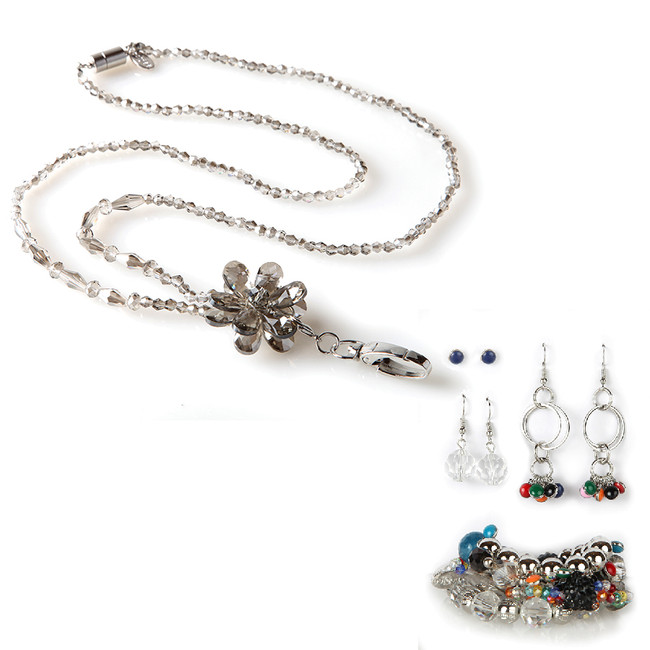 Moonflower Fashion Lanyard with Earrings & Bracelets, 8 pc set