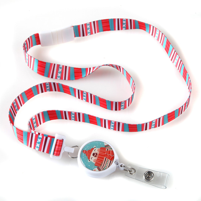 Holiday Bear Ribbon Lanyard