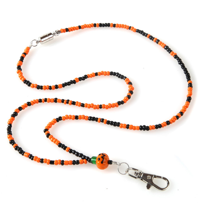 Pumpkin Beaded Lanyard