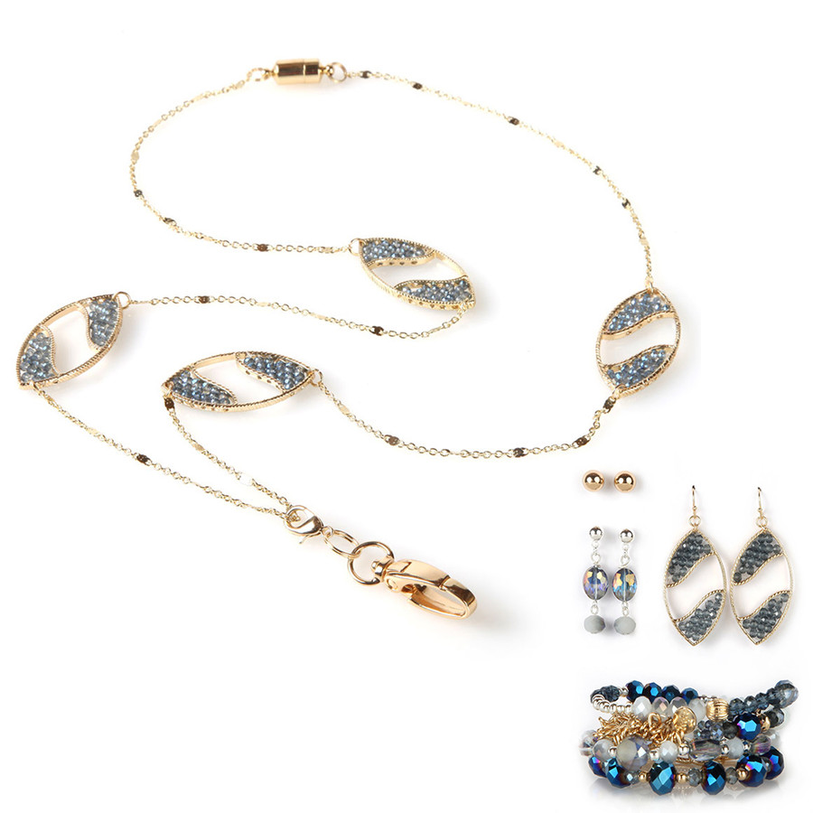 Abacus Chain Fashion Lanyard with Earrings & Bracelets, 8 pc set
