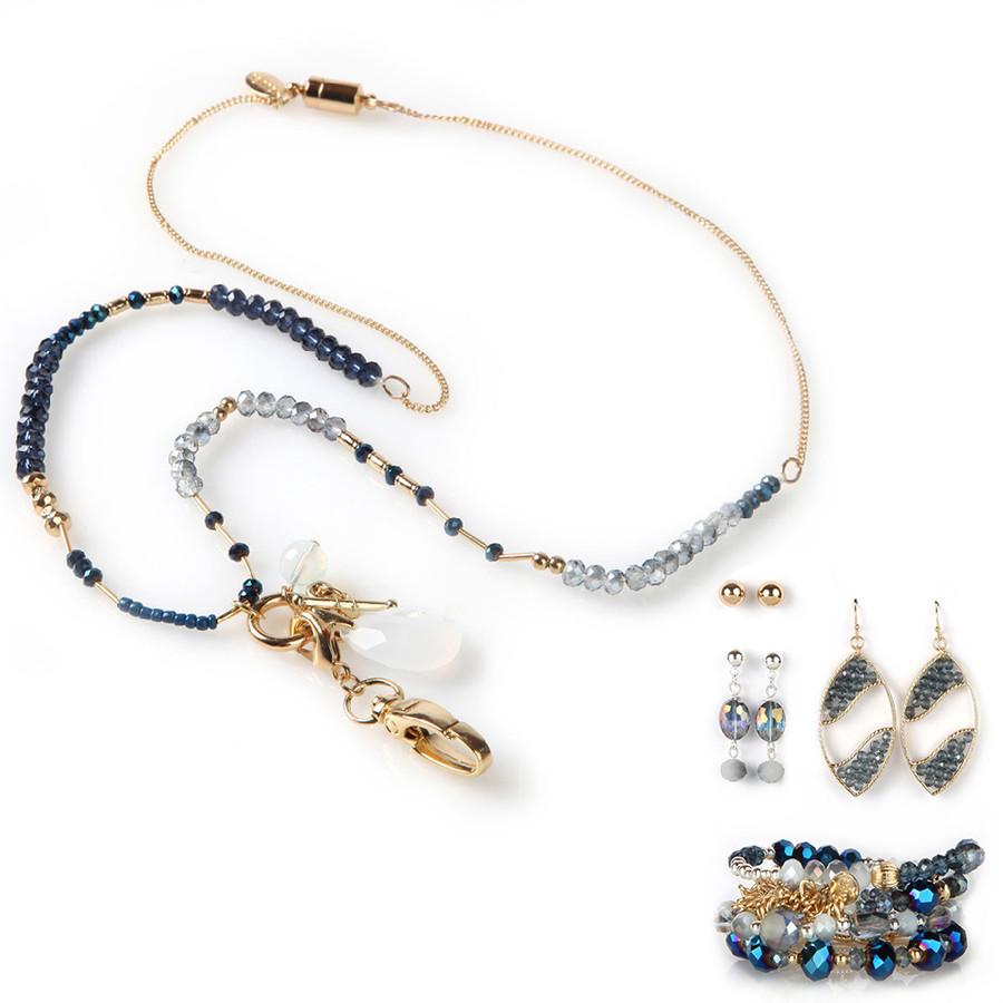 Charmed Fashion Lanyard with Earrings & Bracelets, 8 pc set