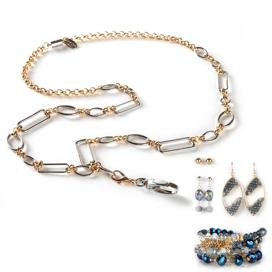 Anna Fashion Lanyard with Earrings & Bracelets, 8 pc set