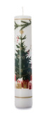 White Tree Pillar Candle (Christmas Tree Design 25cm)