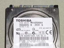 TOSHIBA MK4032GSX, HDD2D34 B ZK01 S, 40GB, SATA
