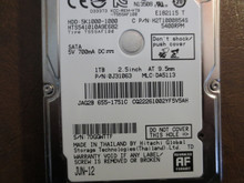 Hitachi HTS541010A9E682 PN:0J31063 MLC:DA5113 Apple#655-1751C 1000gb Sata