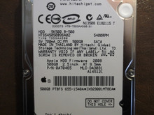 Hitachi HTS545050B9SA02 PN:0A70465 MLC:DA3031 Apple#655-1540A 500gb Sata