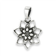 Sterling Silver Blooming Lotus Pendant