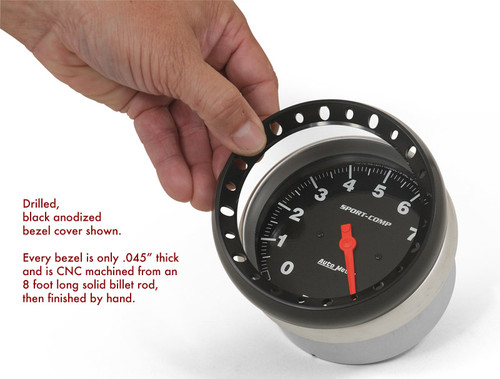 """Drilled 5"""" bezel with black anodized finish.  Gauge not included."""