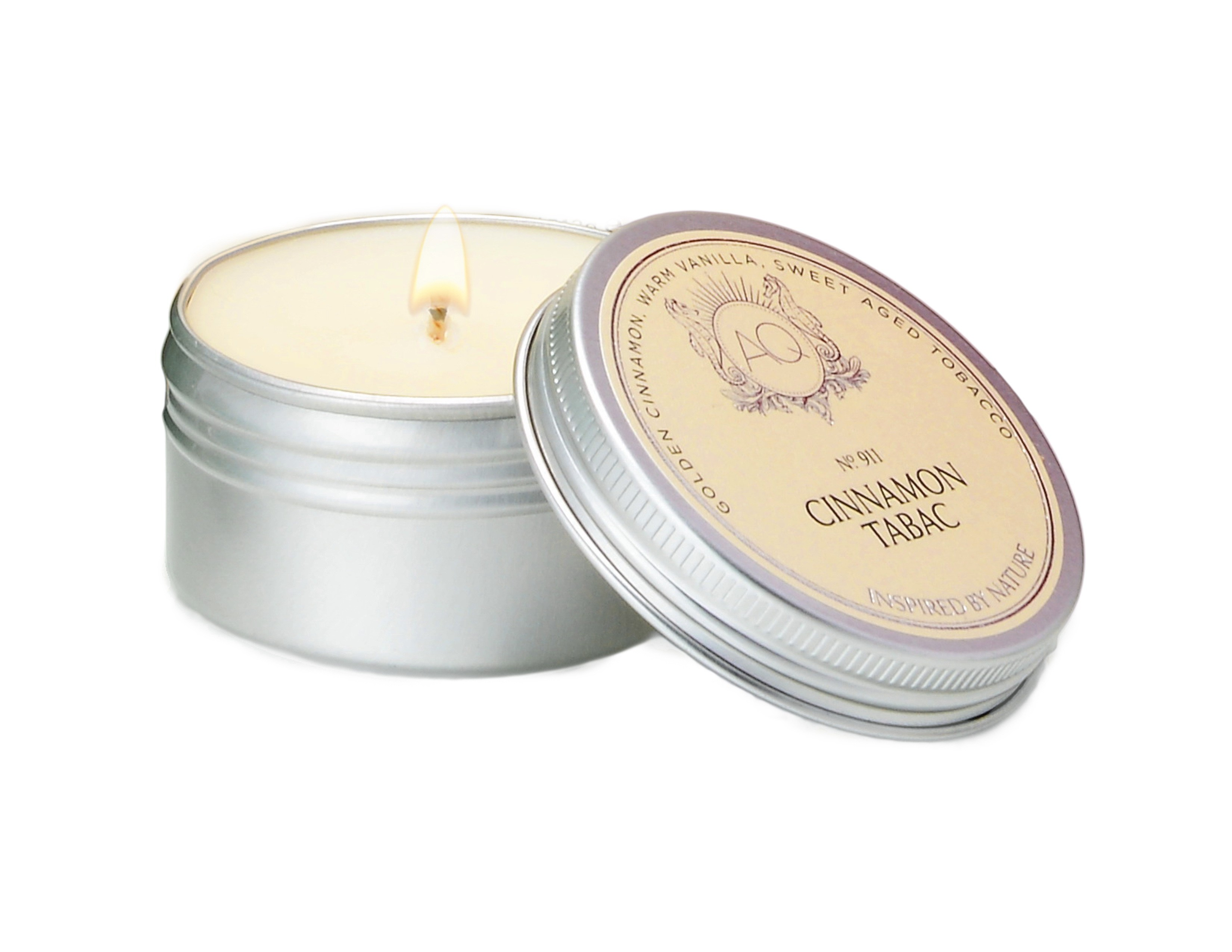 Aquiesse Cinnamon Tabac Holiday Candle Travel Tin | James Anthony Collection