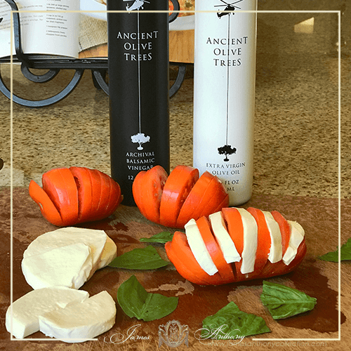 Hasselback Tomato Caprese with Ancient Olive Trees Balsamic Vinegar and Olive Oil | James Anthony Collection