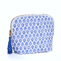 BRAI Pochette Porto - Imprimé Fleur Indiennes - Bleu | James Anthony Collection