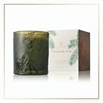 Thymes Frasier Fir Heritage Collection Pine Needle Green Glass Candle | James Anthony Collection
