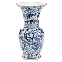 Two's Company Blue and White Porcelain Phoenix Flared Vase | James Anthony Collection
