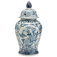 Two's Company Blue and White Hand Painted Porcelain Flora and Fauna Temple Jar I | James Anthony Collection